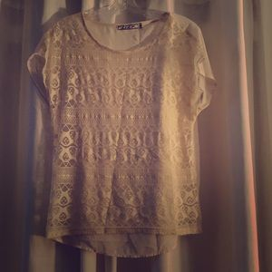 Cream lace short sleeve top